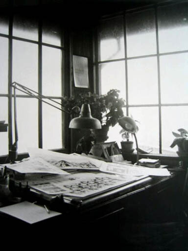 "Gordon Baldwin's work desk in his Bolinas home, 1972. Courtesy of   ""Dreaming As One: Poetry, Poets and Community in Bolinas, California 1967 - 1980""     by   Kevin Opstedal."