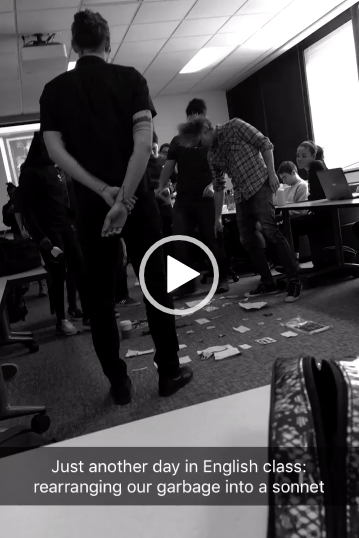 Still from student video of in-class  sonnet assemblage activity  with visiting poet Matt Hart.