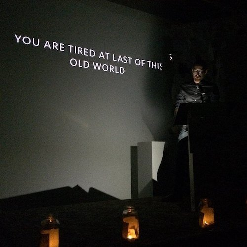 Performing poem-video from  1999  at the Atlanta Contemporary Art Center.