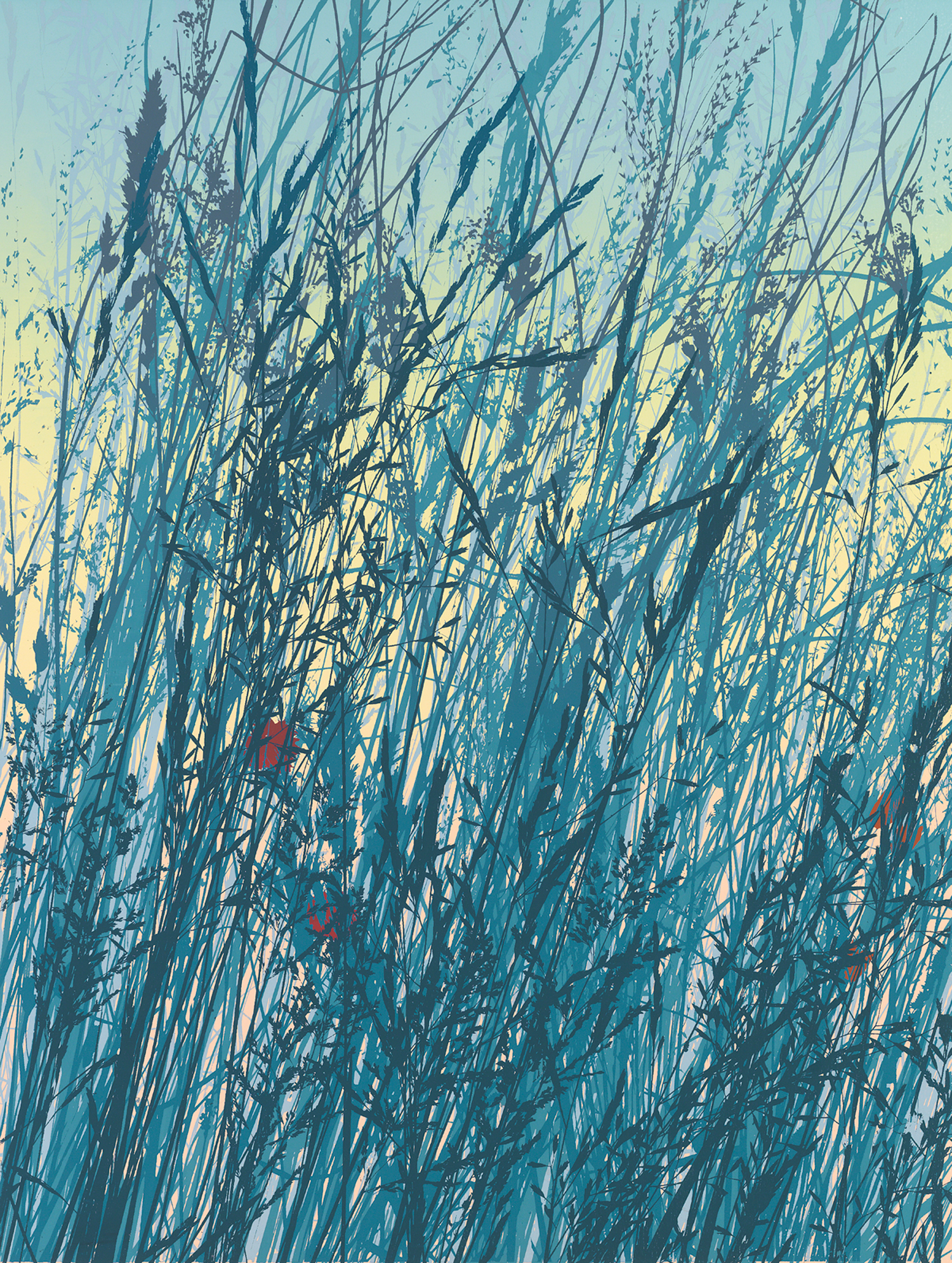 "253   Blue Grasses   24"" x 18"" 10 colors 5 edition / 3 available $425"