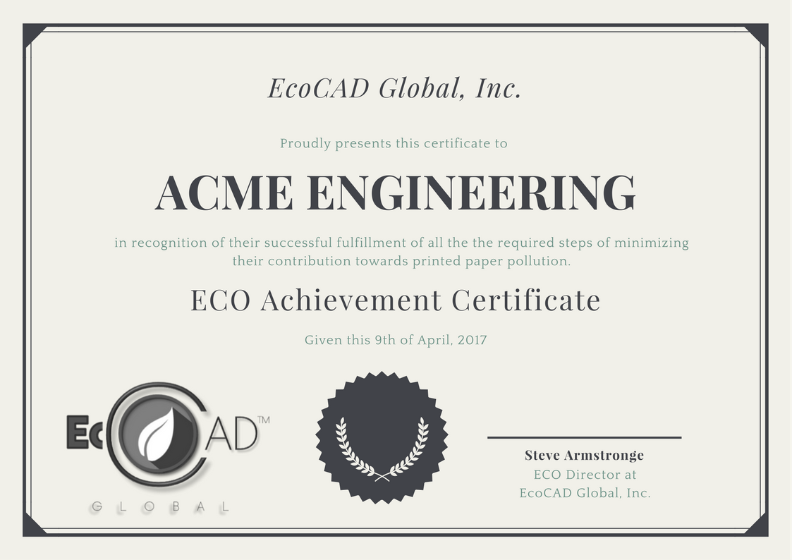 Eco Achievement Certificate. - We are proud in our part to help reduce printed paper pollution around the world. Companies who use RedLine 2018 are eligible to apply for our ECO Achievement Certificate, where after meeting the required steps you will receive a certificate showing your company's dedication to reducing printed paper pollution, and showing your customers you truly care about the environment we all live it.