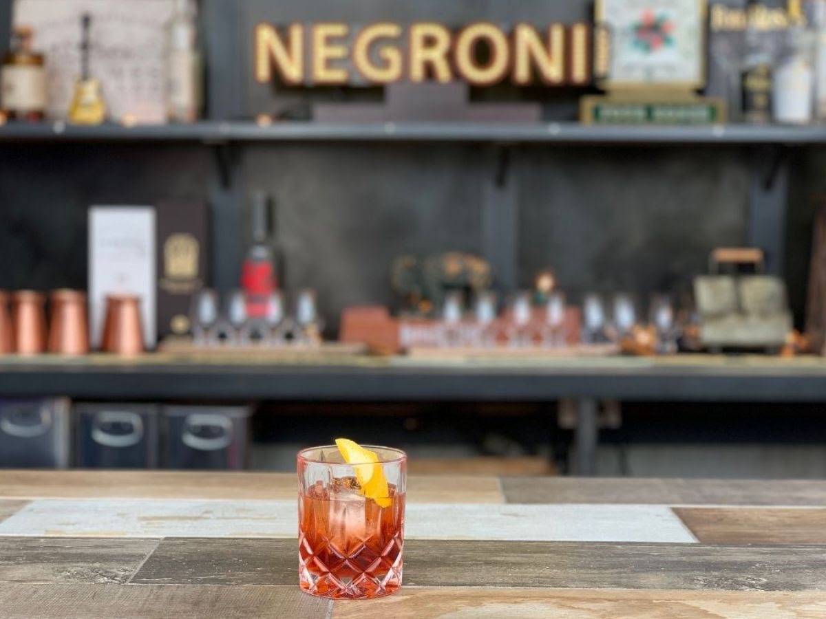 BETWEEN THE BARS - strawberry-infused halcyon organic gin, campari, sweet vermouth