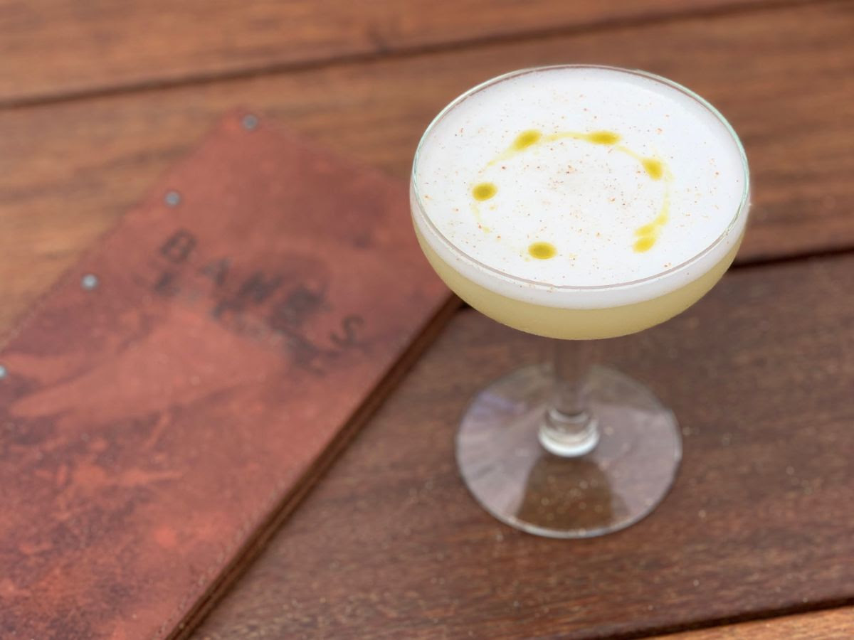 MOTHER NATURE'S SONG - halcyon organic gin, falernum, fennel pollen, lemon, egg white, basil oil, nutmeg