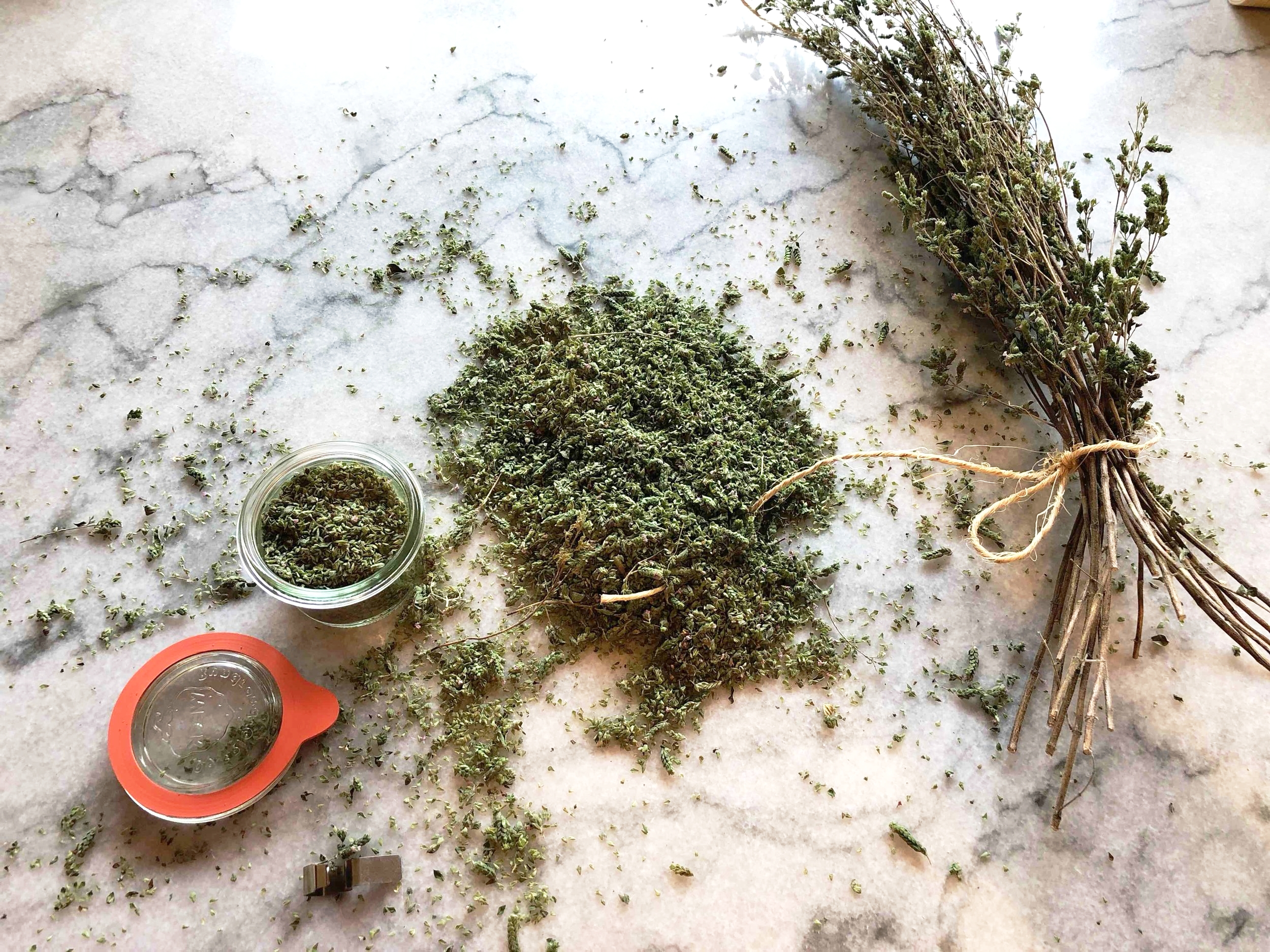 Rub the bundles and shake off the flakes. Remove any twigs and package in air tight containers.