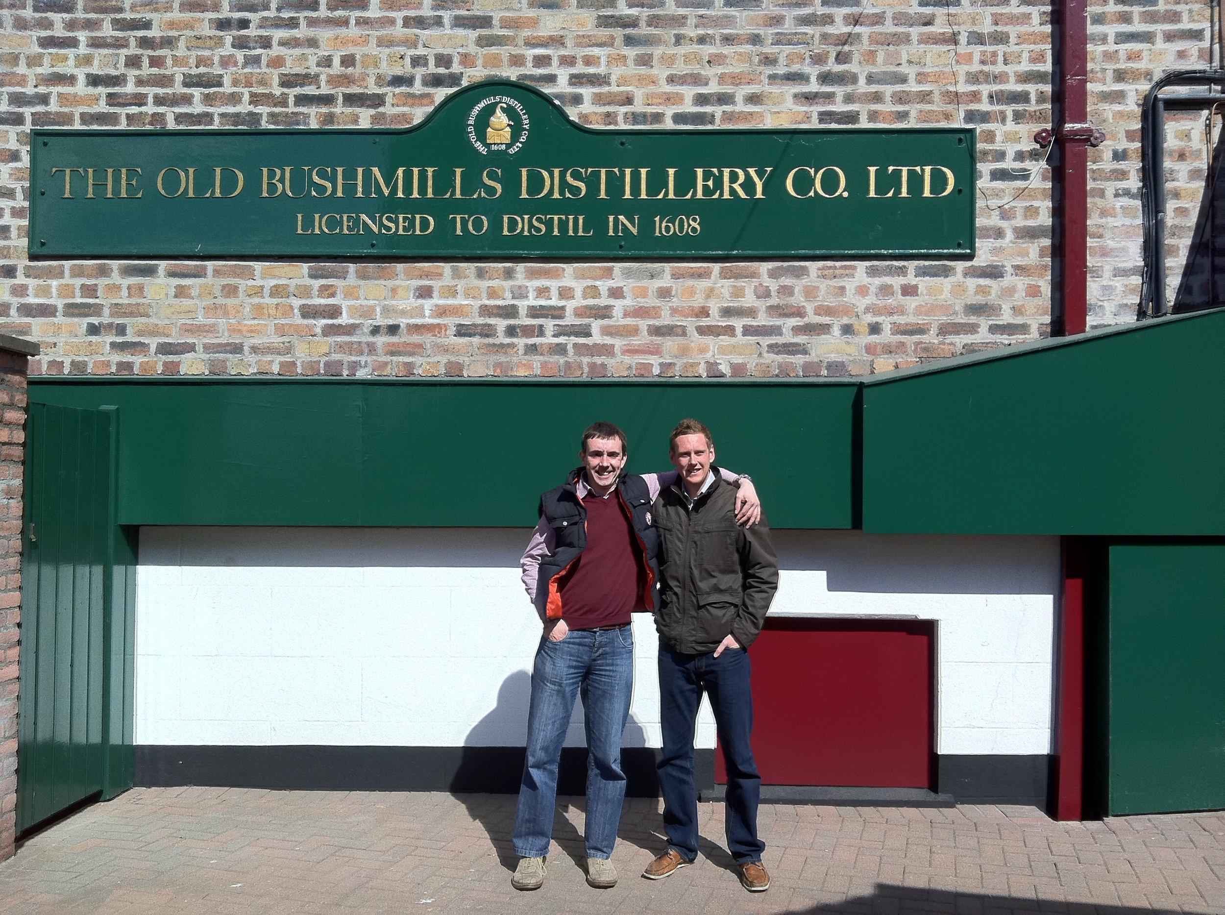 Peter Cobley and Chris Pattinson at Bushmills distillery