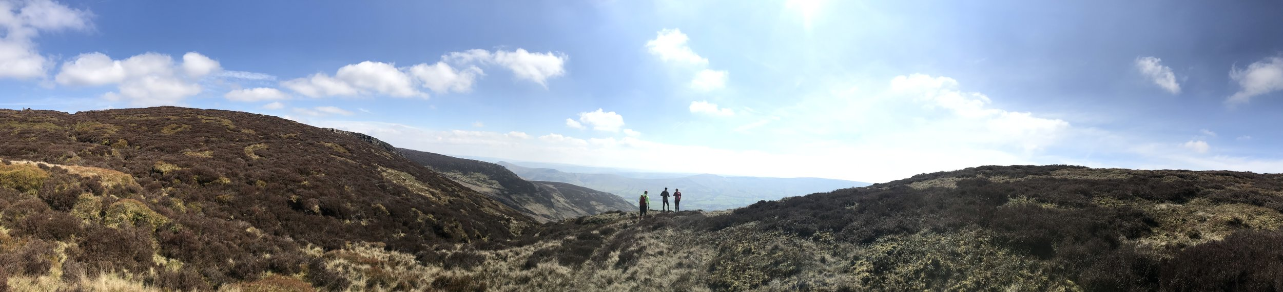 Tony, Jon, and Adam looking down into Edale.