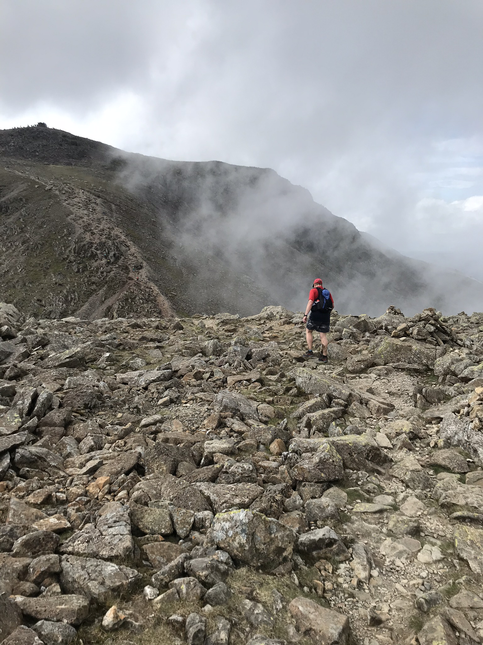 Gareth on the way to Scafell Pike summit.