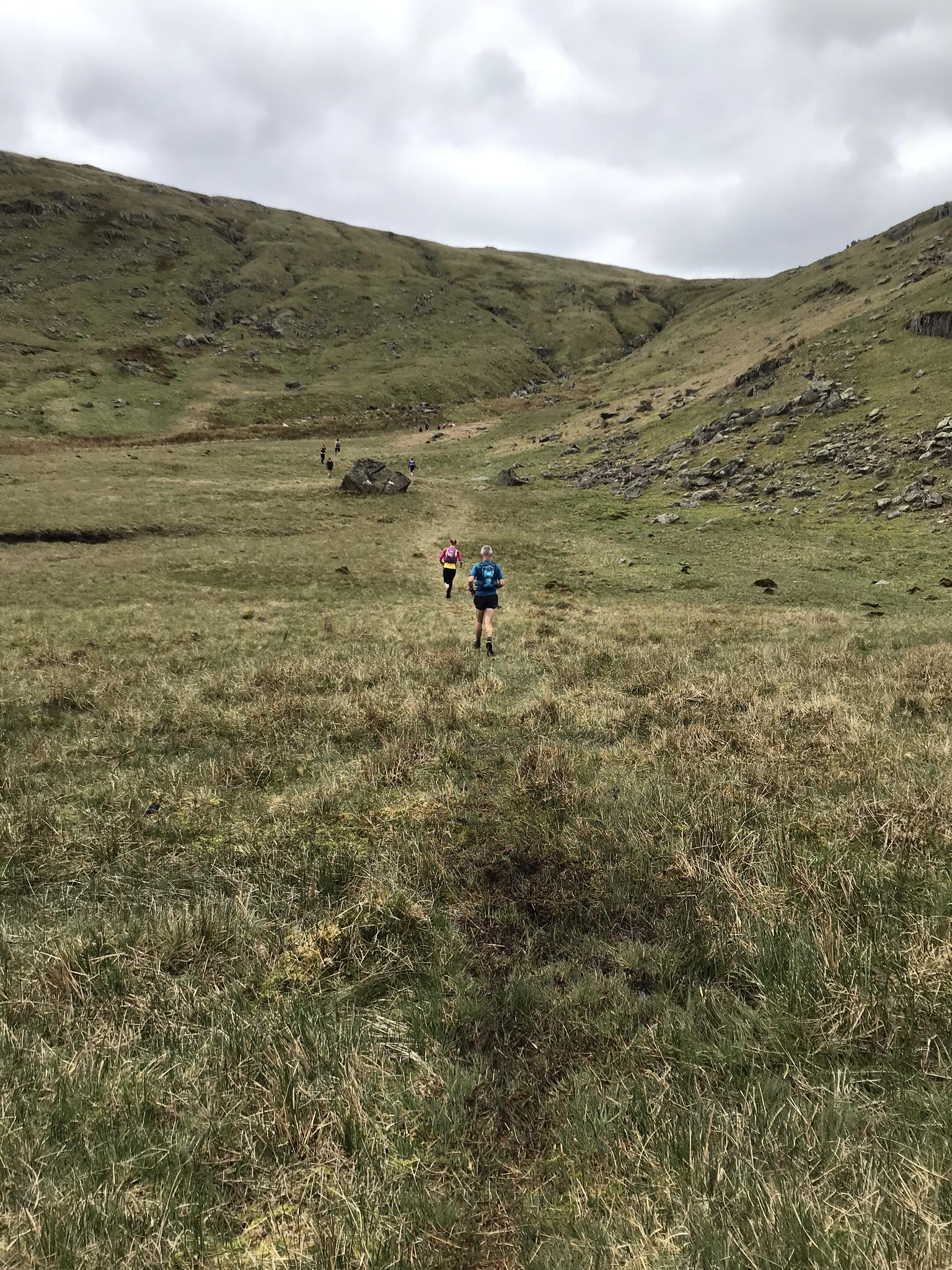 The climb to Greenup Edge beneath High Raise.