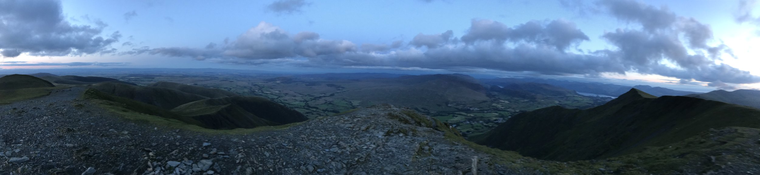 Blencathra summit with Halls Fell Ridge directly ahead and below