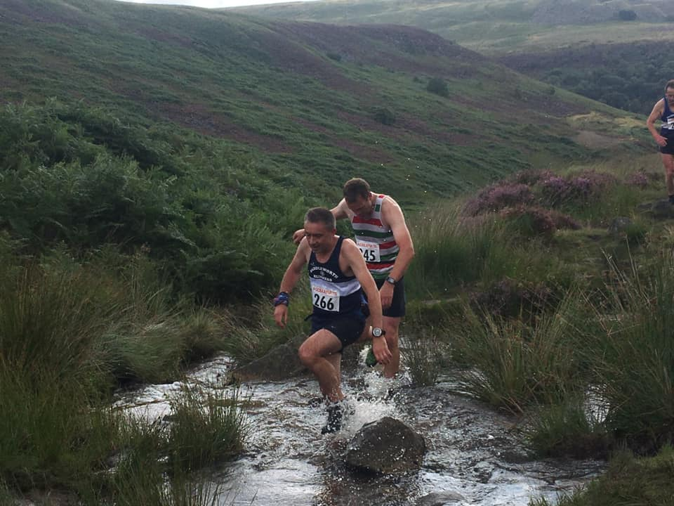 First splish splosh climbing out of Crowden. Chris Davies to the right soon to overtake. Photo by Des Thorpe and Winnie.