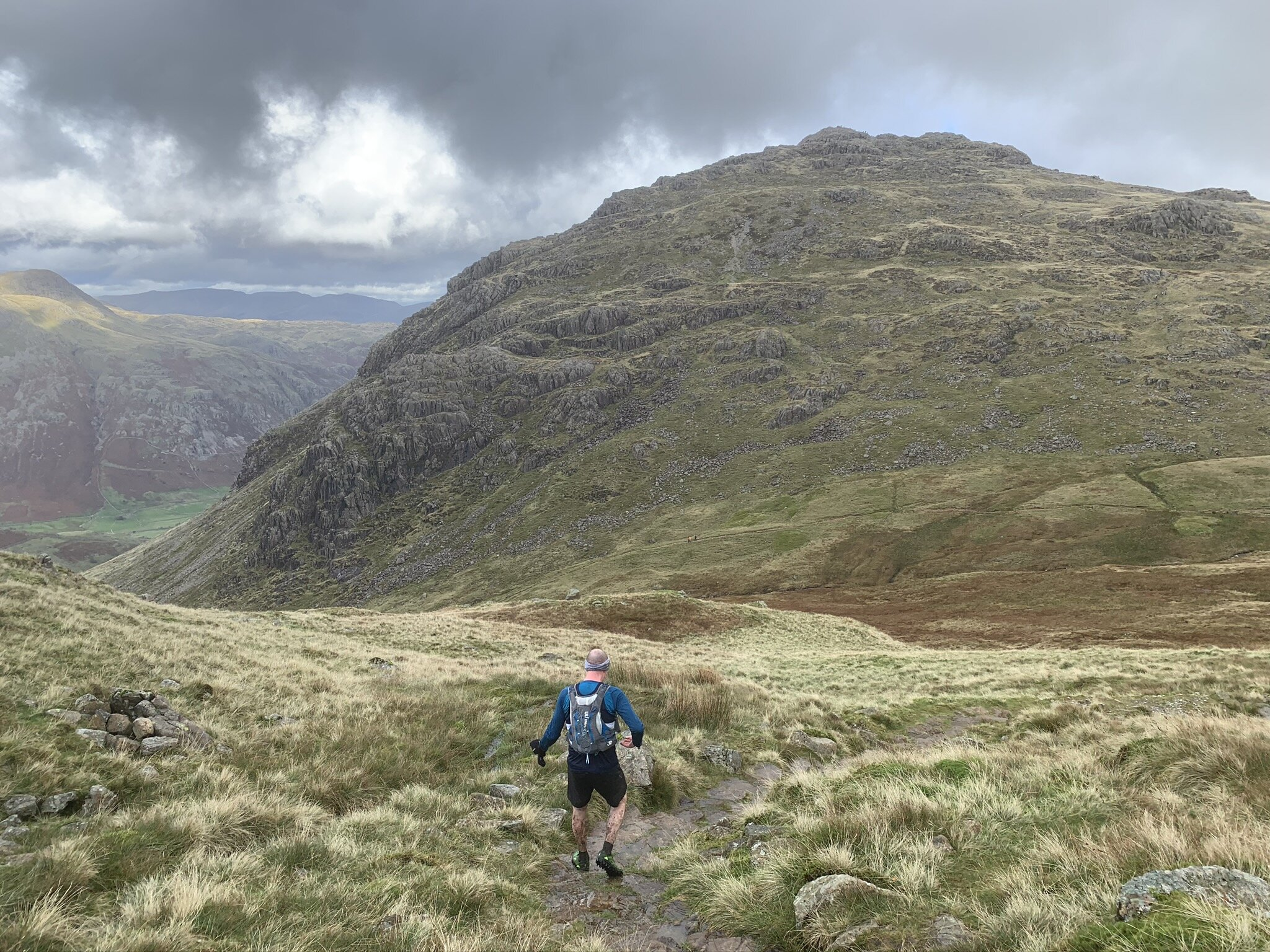Dropping down to Red Tarn, with Pike O' Blisco in the background.