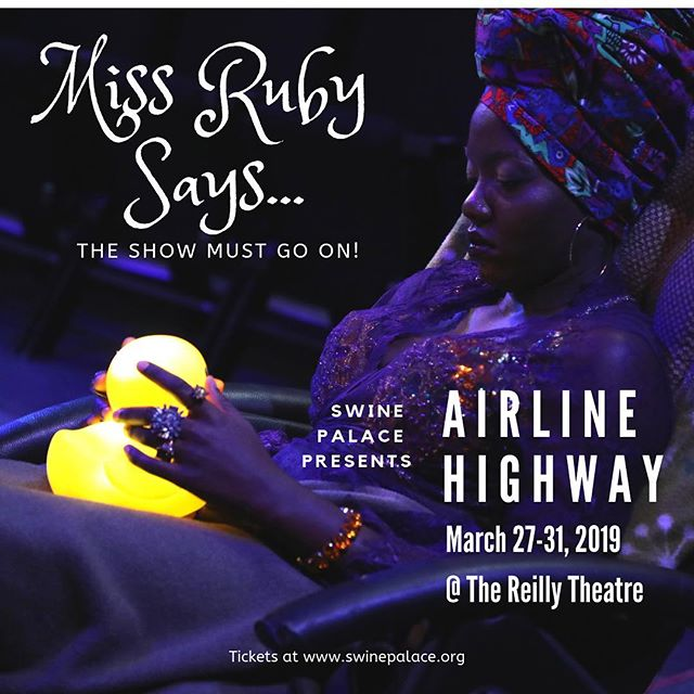 Thank you so much for your patience with us as we navigated some unforeseen bumps in the road that only happen in live theatre. Now we are thrilled to open AIRLINE HIGHWAY this evening at 7:30pm at the Reilly Theatre!! Tickets for our shortened run are still available but make sure you purchase them now before they sell out. We'll see you at the party!! . . . 📸 courtesy of @mackenziekayy_ . . . #swinepalace #airlinehighway #livetheatre #batonrouge #batonrougeevents #geauxdowntownbr #geauxbr