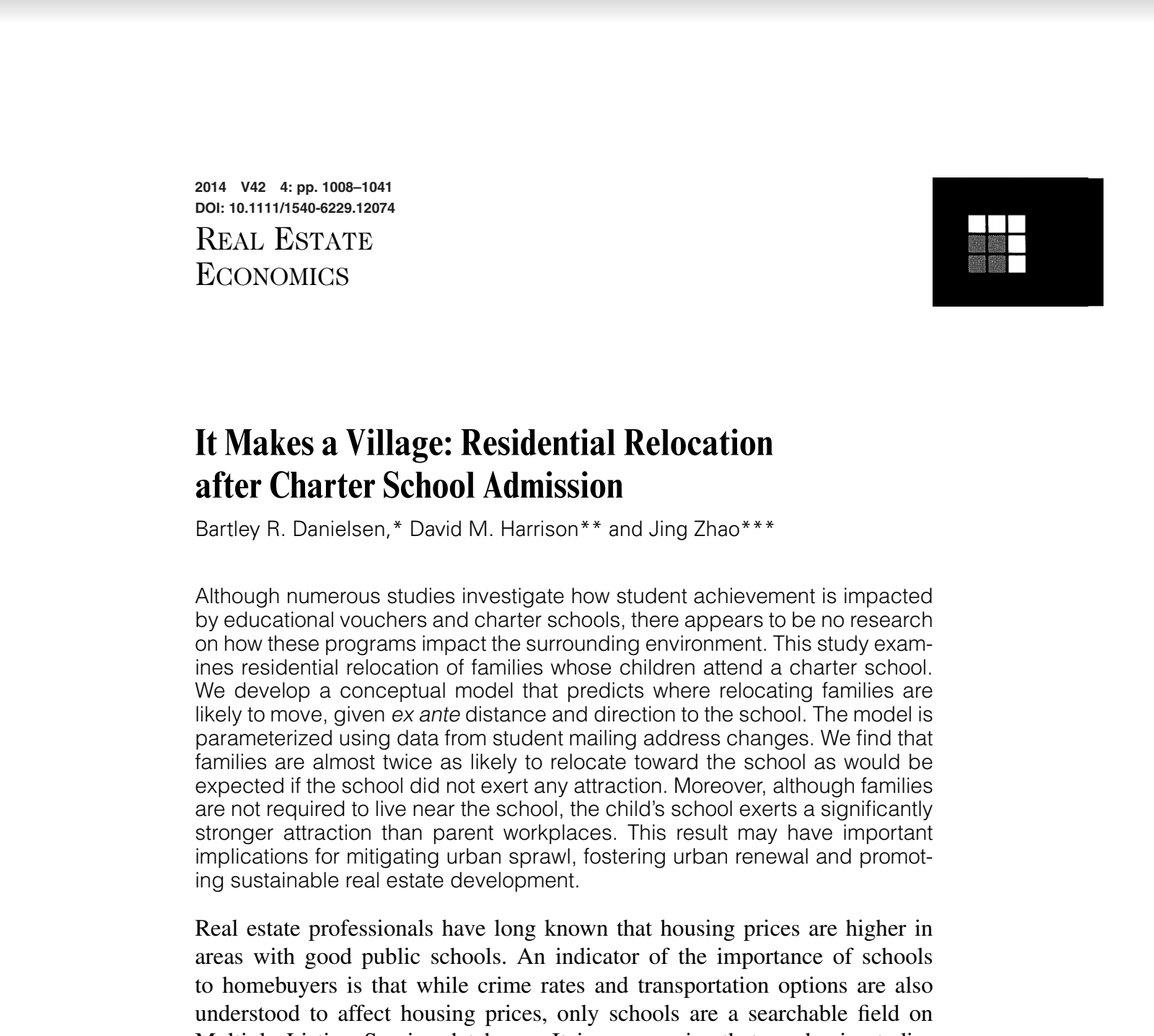 It Makes a Village: Residential Relocation after Charter School Admission