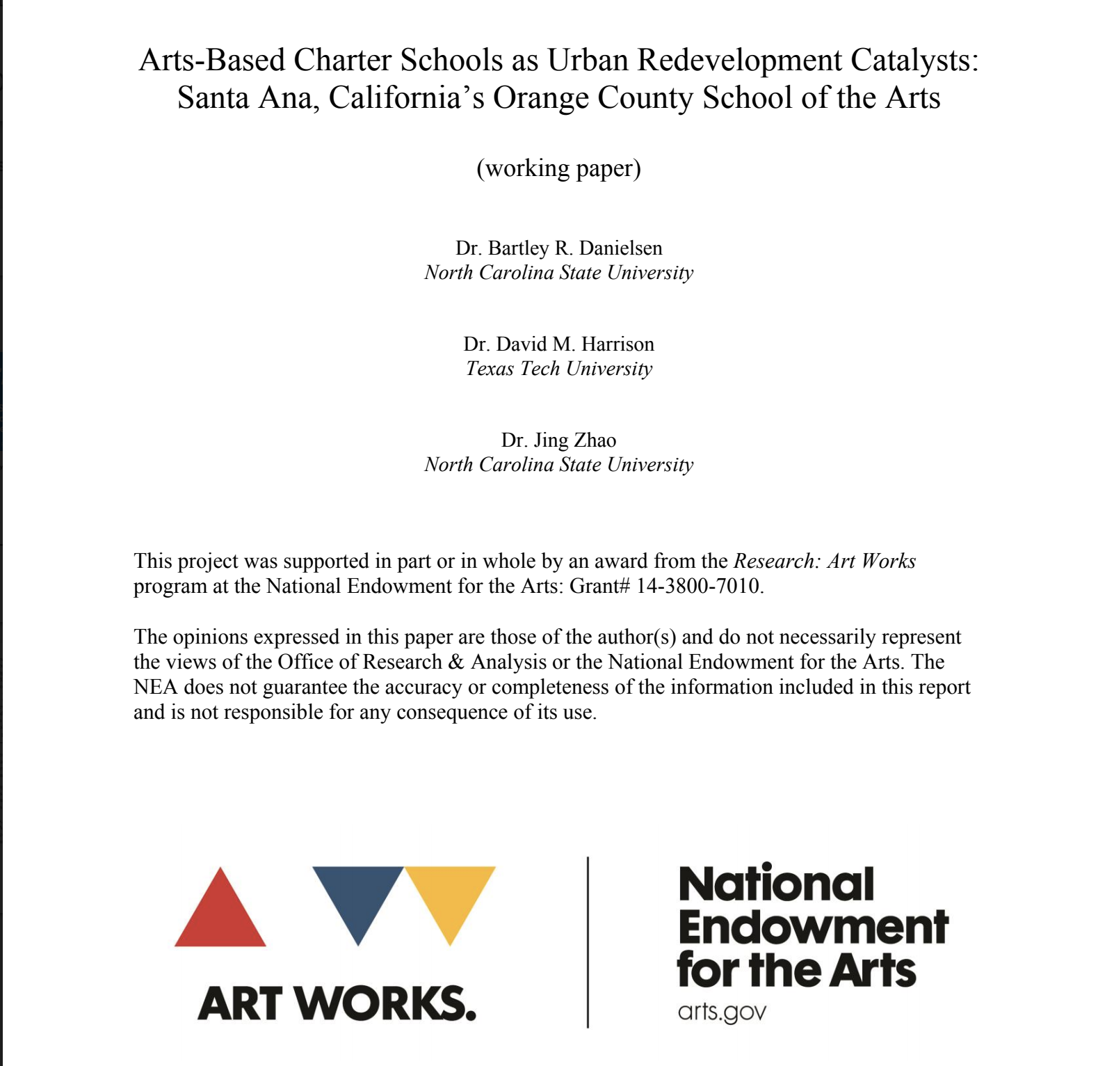 Arts-Based Charter Schools as Urban Redevelopment Catalysts