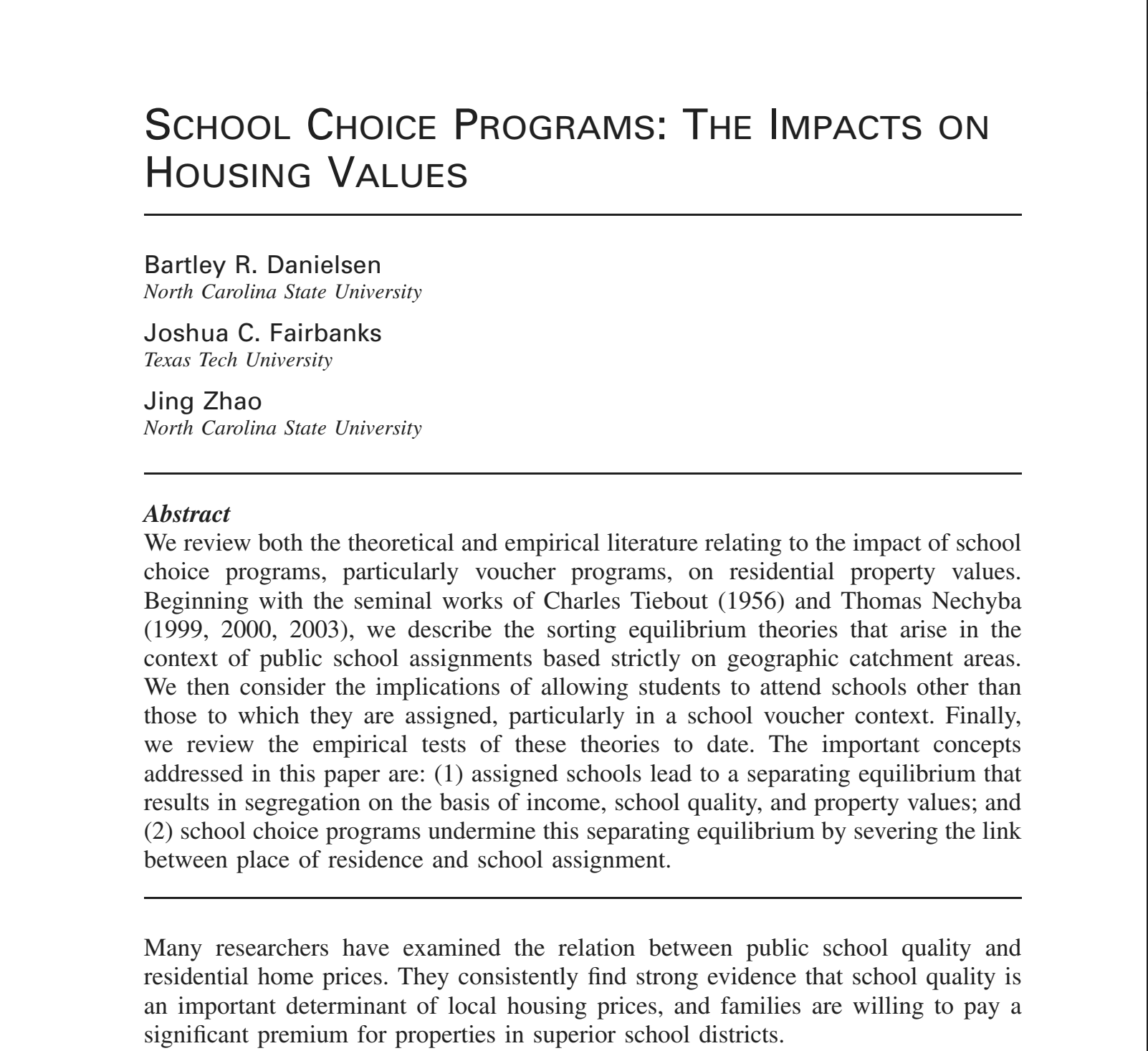 School Choice Programs: The Impacts on Housing Values
