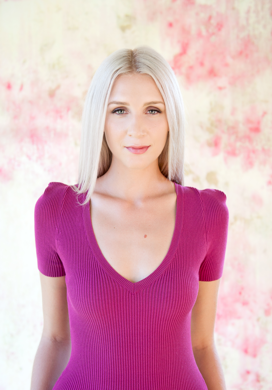 San Diego County Full Service Portrait Studio | Purple Shirt Beautiful Background