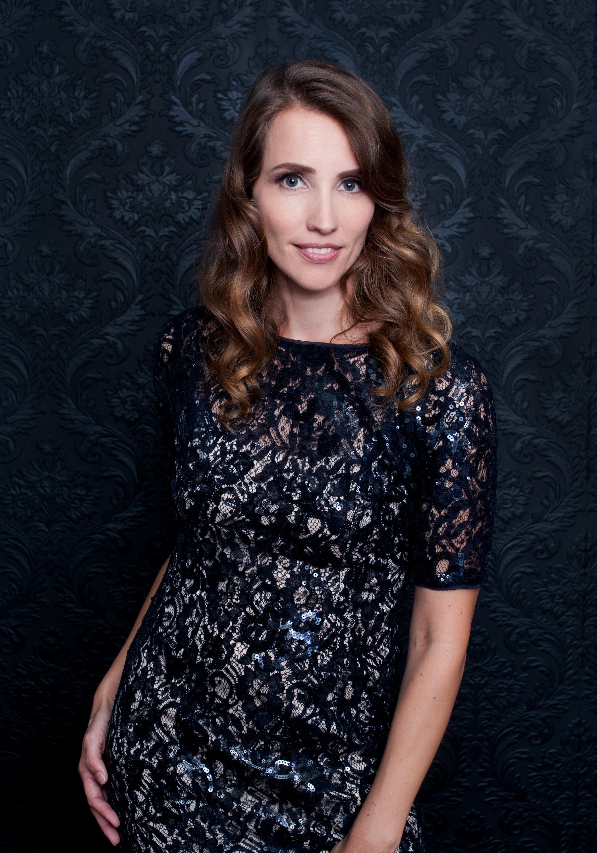 San Diego County Full Service Portrait Studio | Navy Lace Dress Dark Blue Background