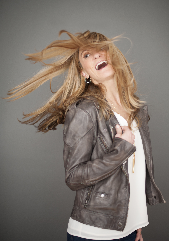San Diego County Full Service Portrait Studio | Hair Flip Gray Leather Jacket