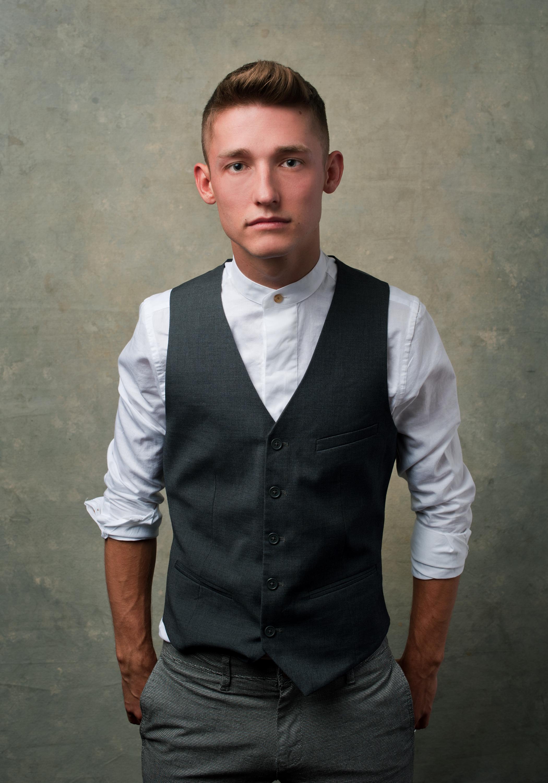 Vanity Fair Vest Banded Collar White Shirt Portrait of Guy