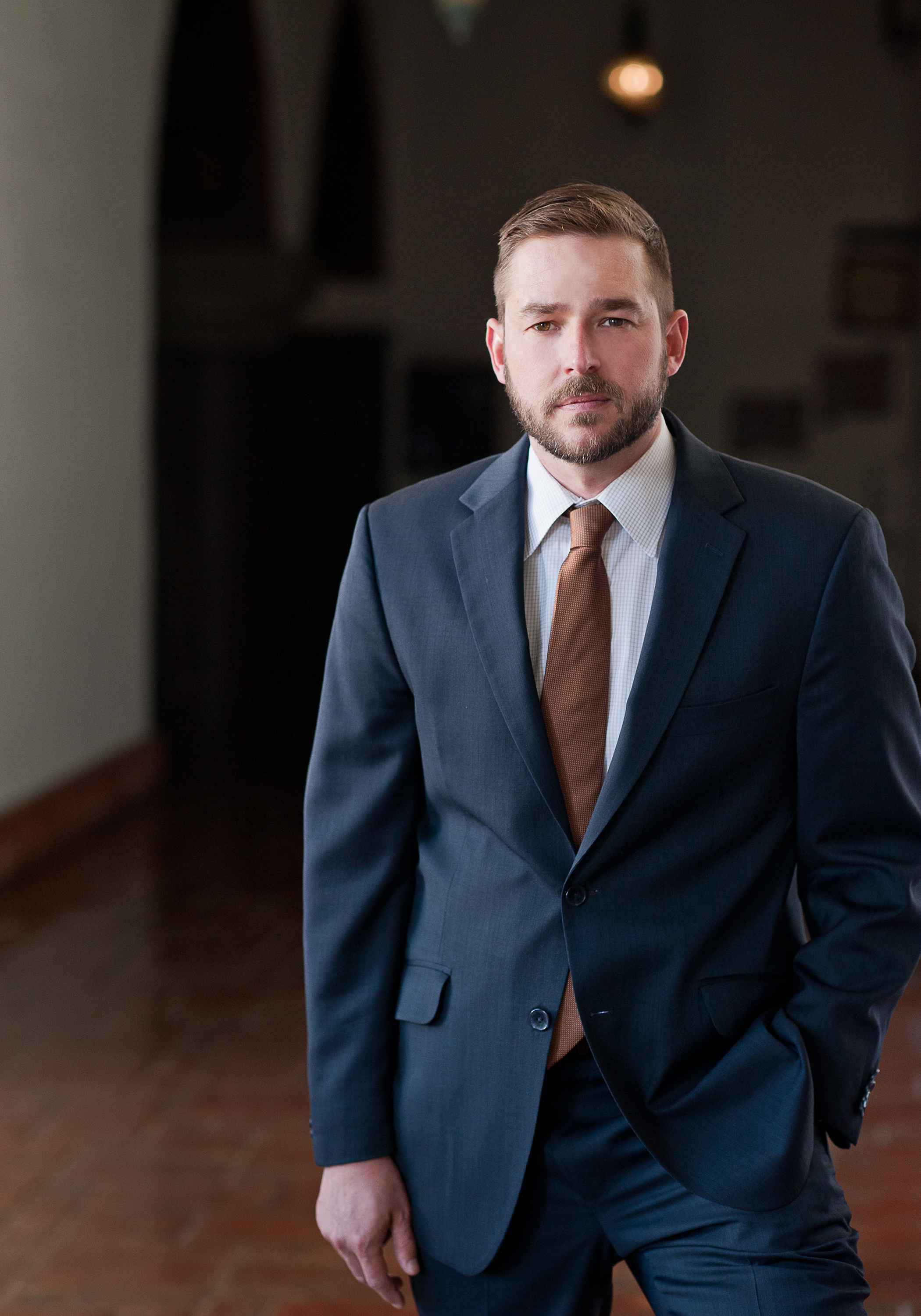 personal branding of lawyer in blue suit at Santa Barbara Courthouse
