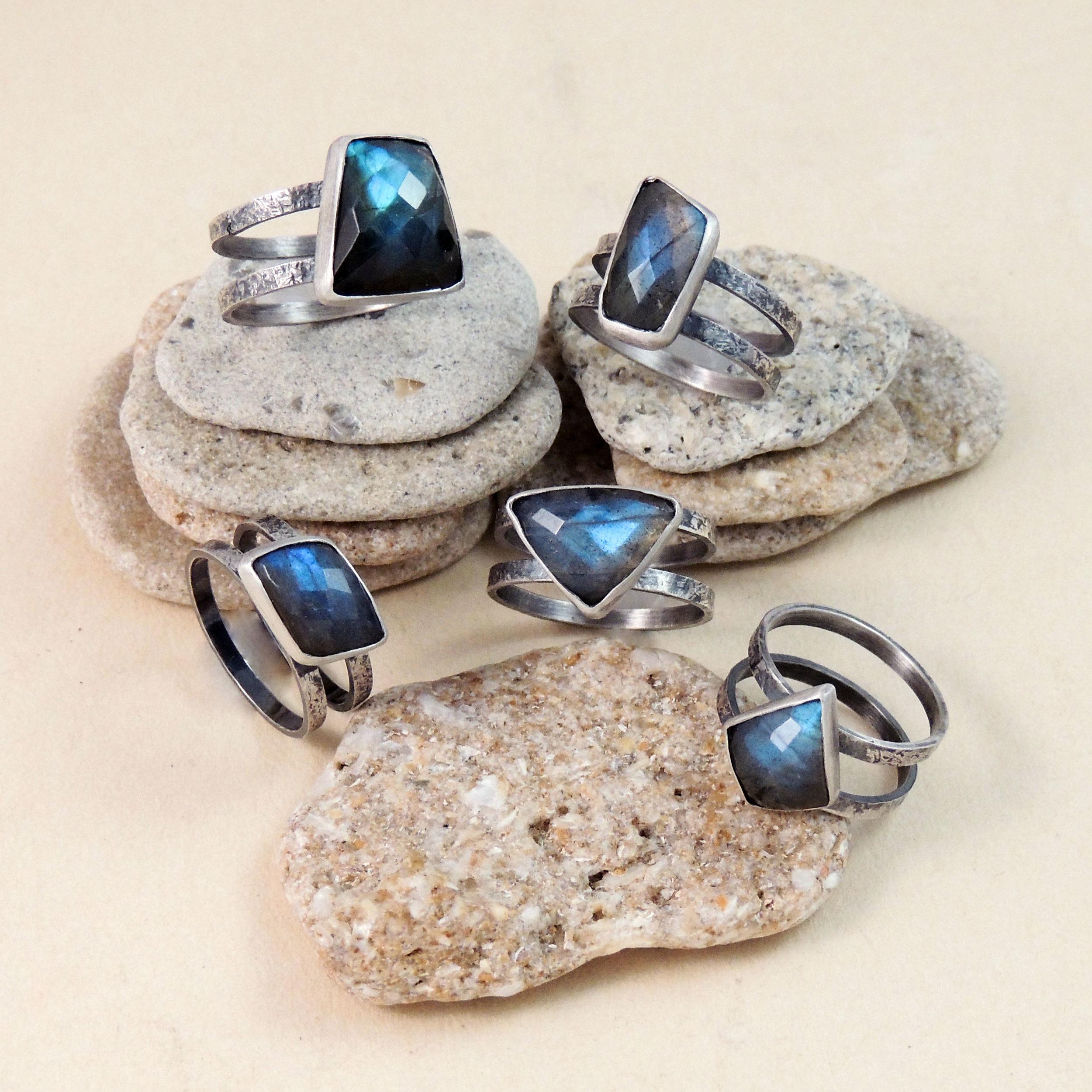Cosmic Rings- Labradorite & sterling silver- various sizes $99.00