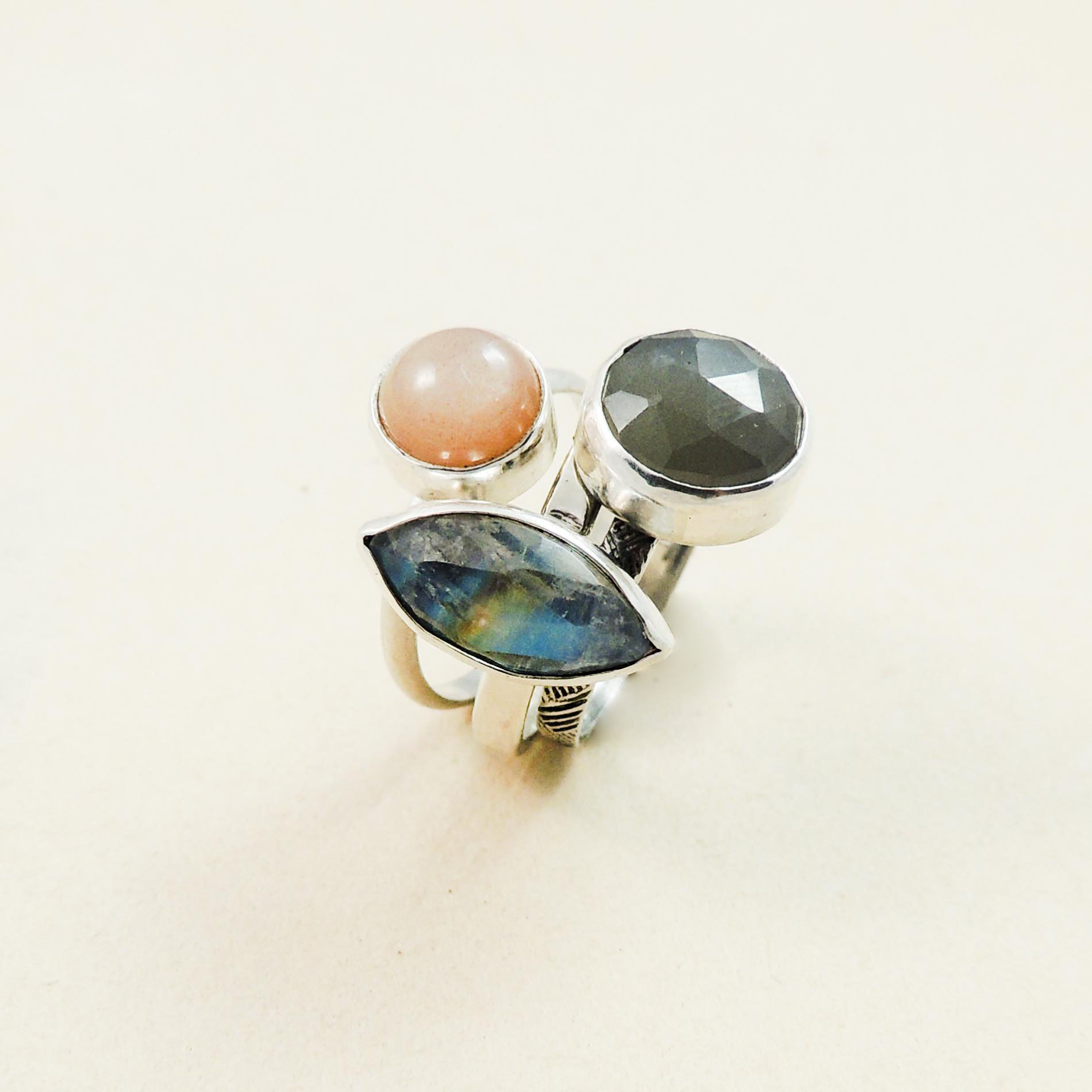 Peach, gray and rainbow moonstone, sterling silver- stacking rings.