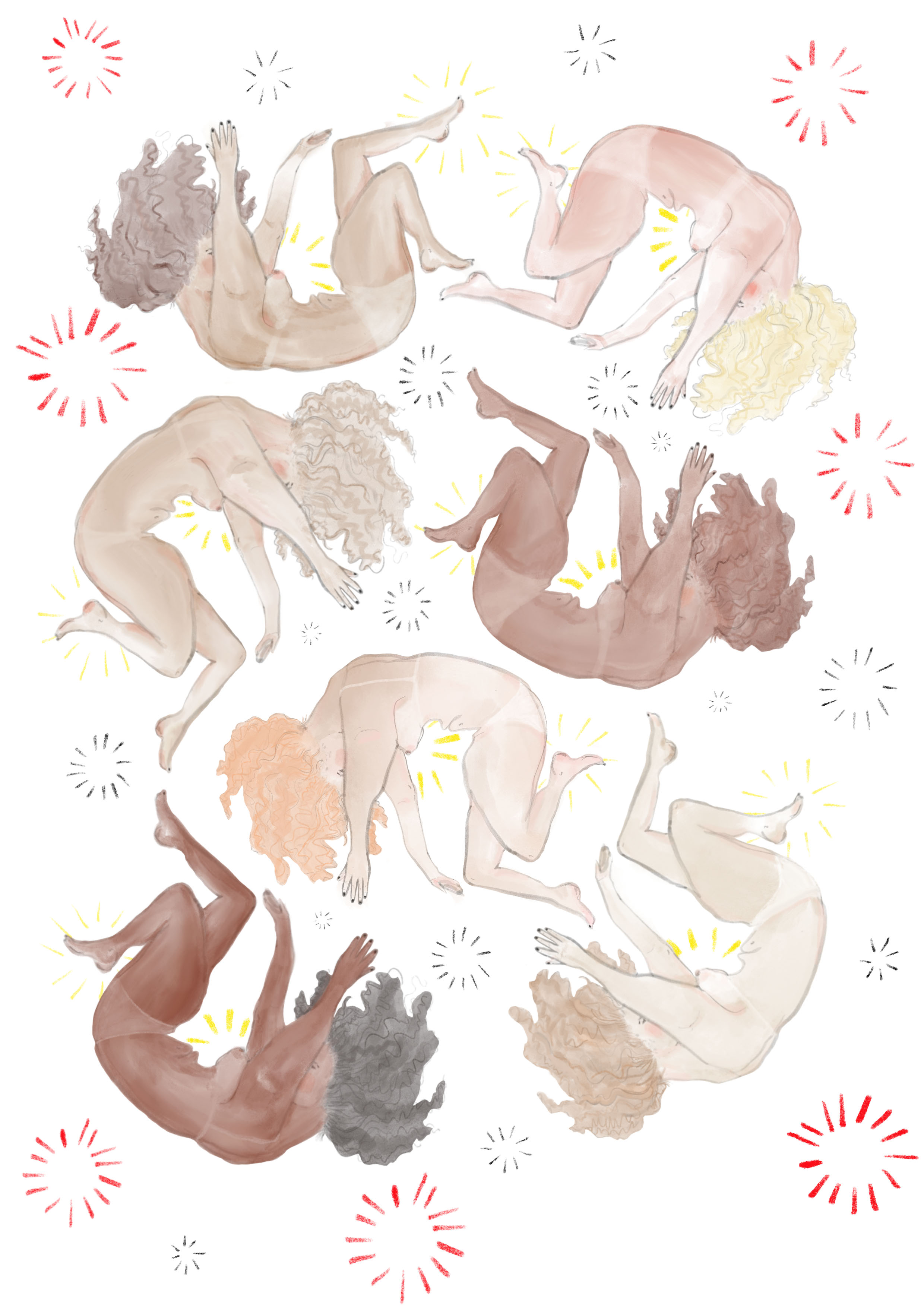 Ladies falling, Chuva Featherstone