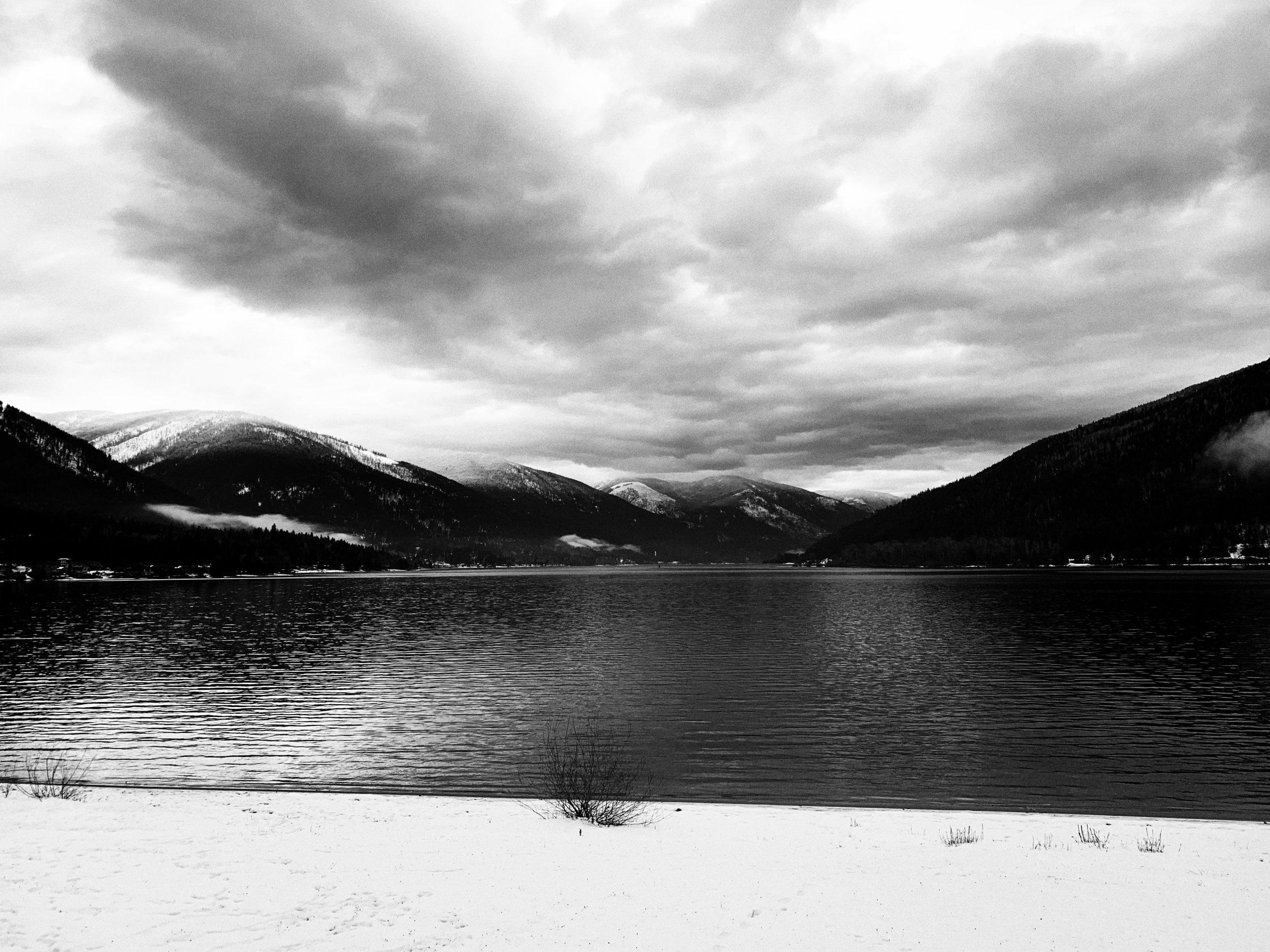 Kootenay Lake, British Columbia, site of my backyard polar plunge