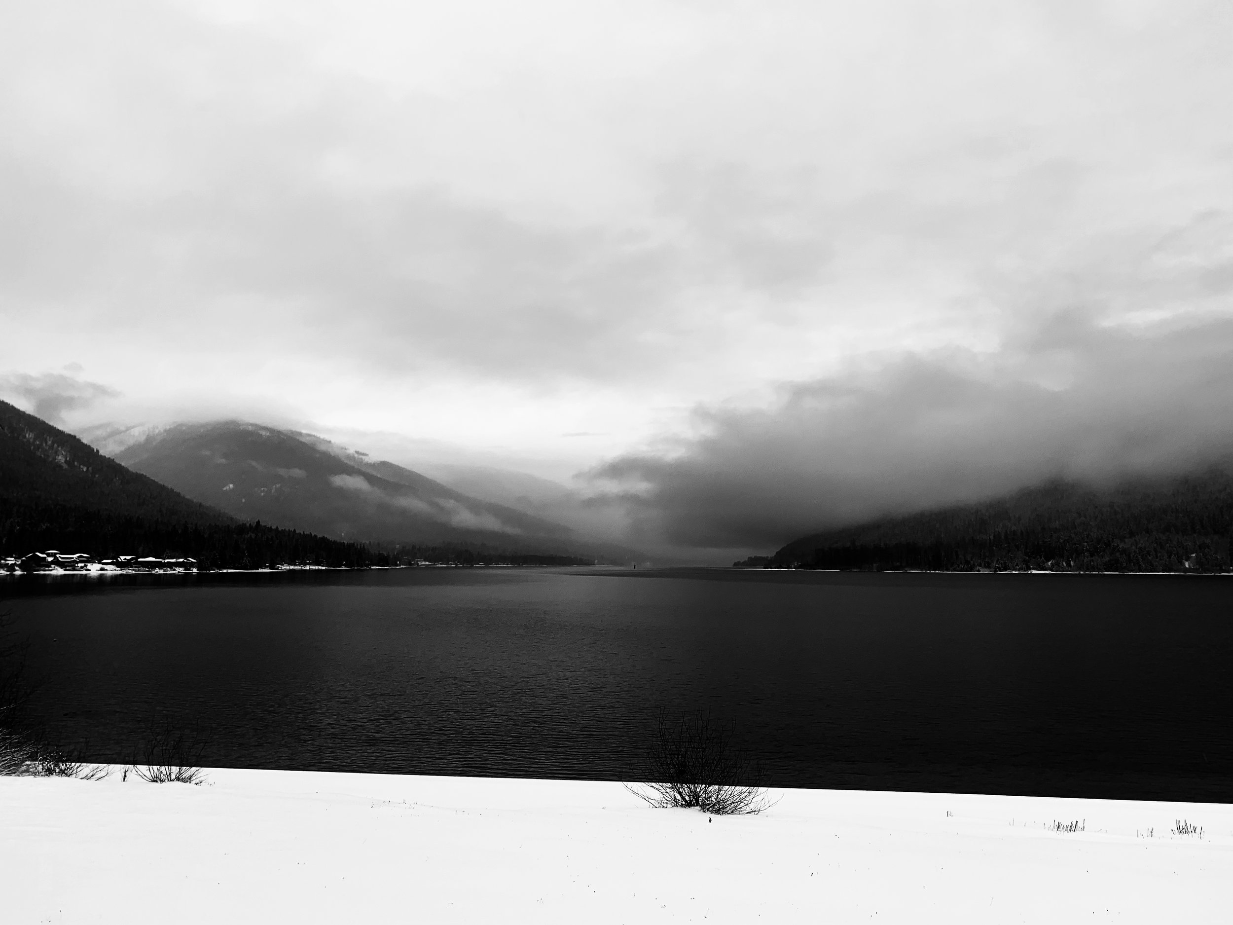 Kootenay Lake, British Columbia, in clouds and snow