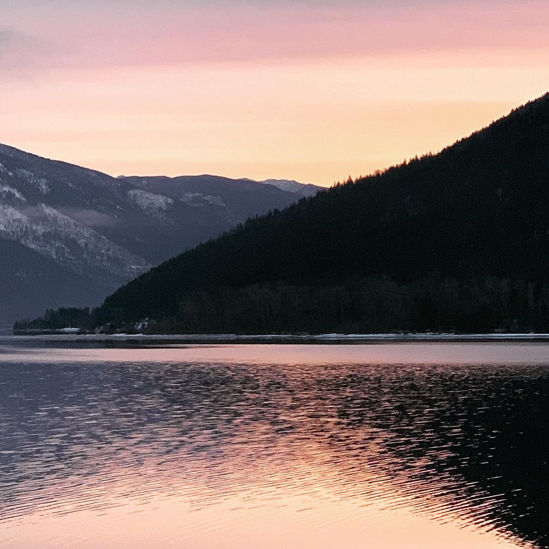 Spring sunrise outside my cabin, Kootenay Lake, Nelson, BC