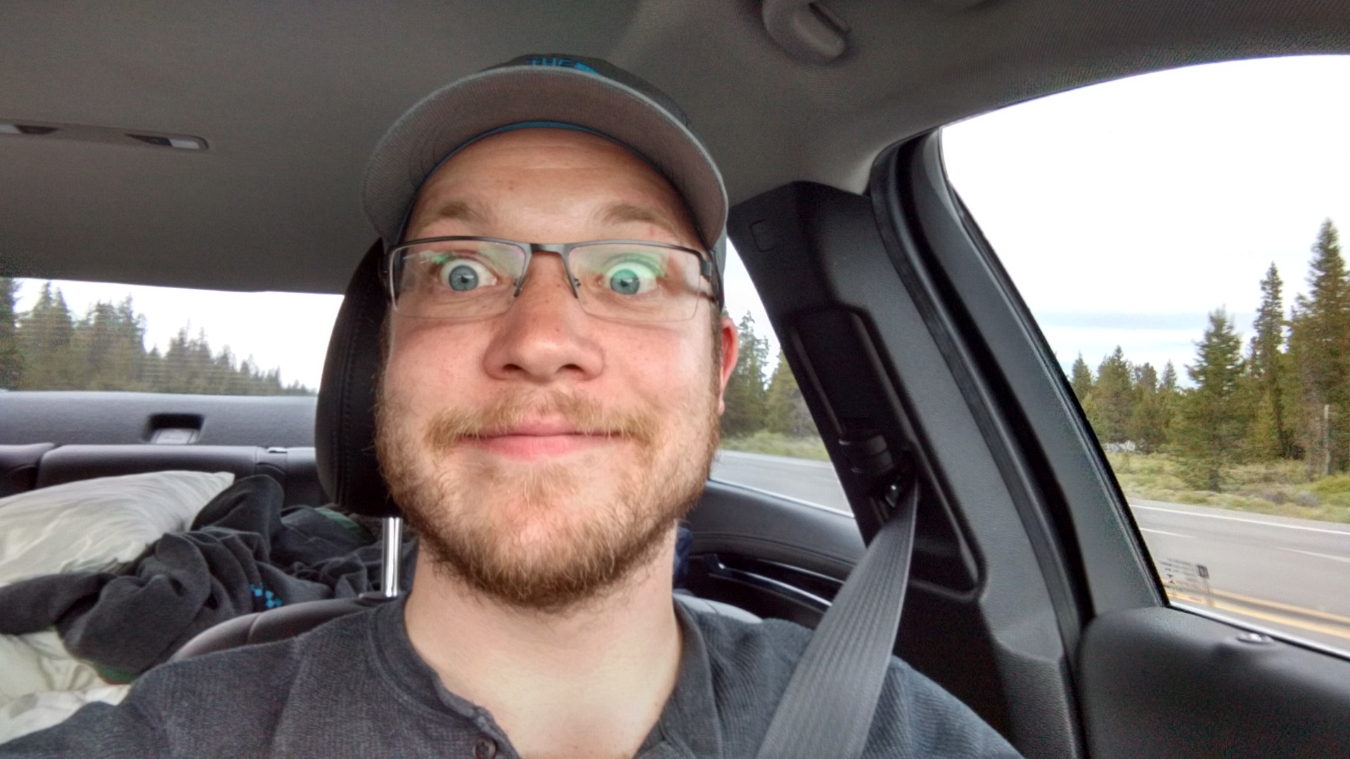 Finally back in my car, with my crazy wide eyes on my way to California.