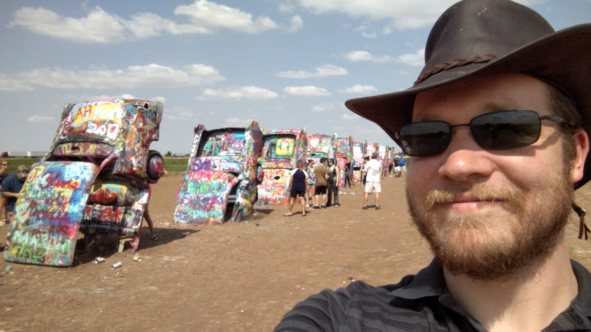 The Cadillac Ranch. Basically 10 old Cadillacs stuck halfway in the ground and covered in about 6 inches of spray paint graffiti. It was interesting.