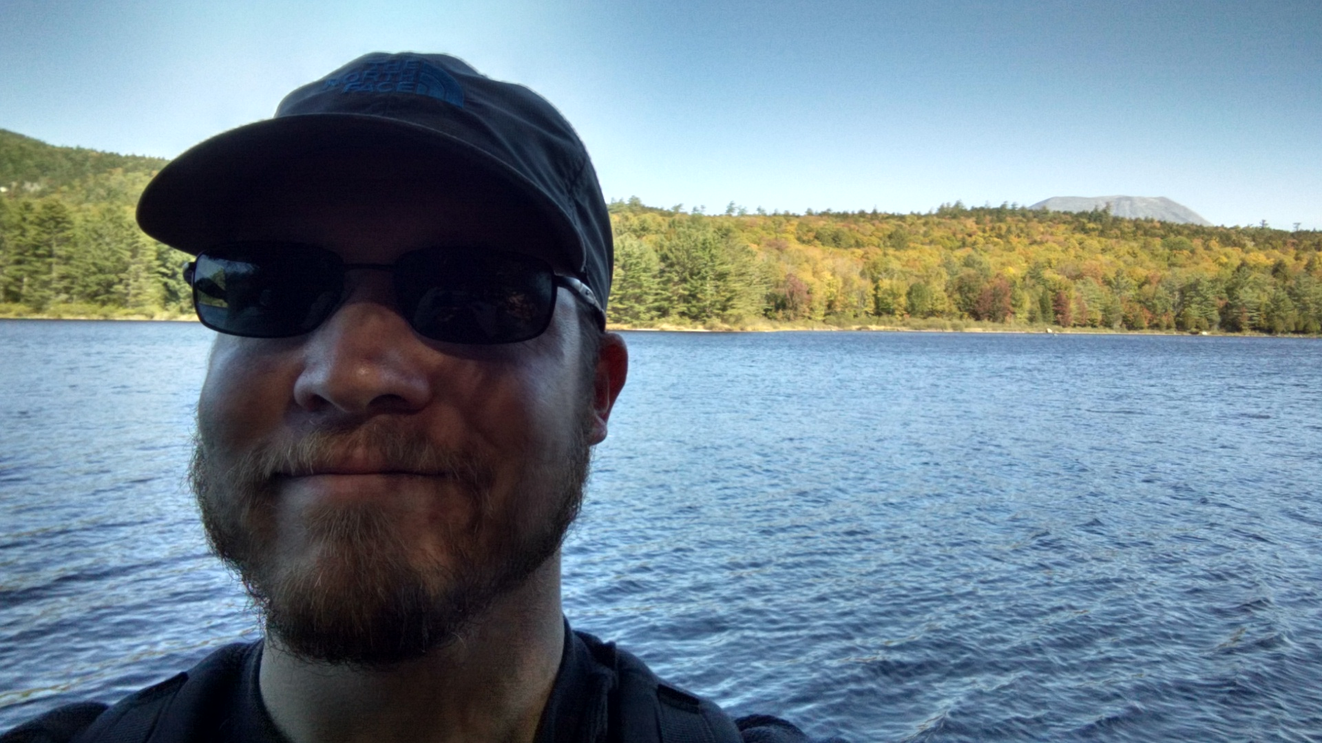 My selfie game is still a work in progress, but you can kind of see Katahdin back there.