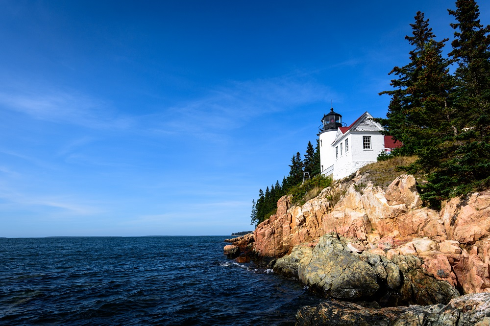 The Bass Harbor Head Light in daylight.