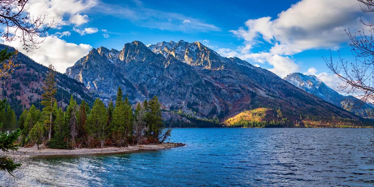 """Jenny Lake"" - A view of the mountains across Jenny Lake from some paths near the visitor center."
