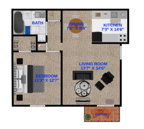 1 Bedroom, 1 Bathroom