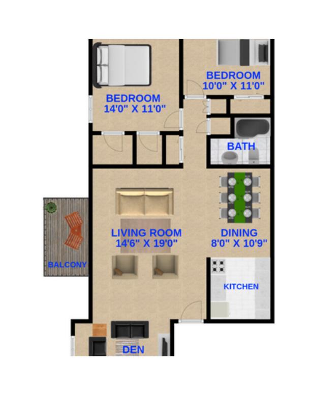 2 Bedrooms, 1 Bathroom + den