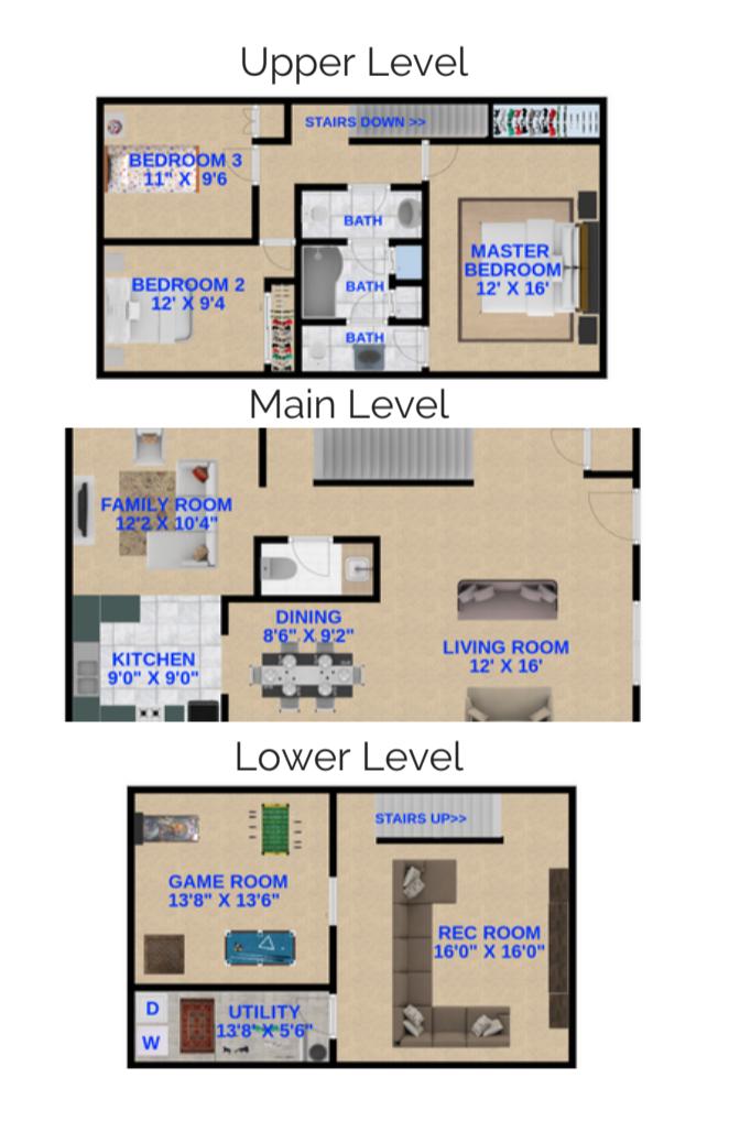 3 Bedrooms, 2 Bathrooms Townhome