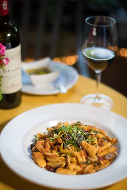Cavatelli Al Funghi - Fresh cavatelli pasta with olive oil, garlic, wild mushrooms and sun-dried tomatoes.