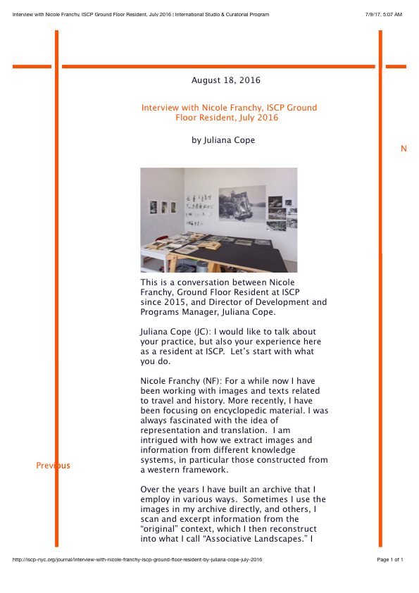 2016_Interview with Nicole Franchy, ISCP Ground Floor Resident, July 2016 | International Studio & Curatorial Program.png