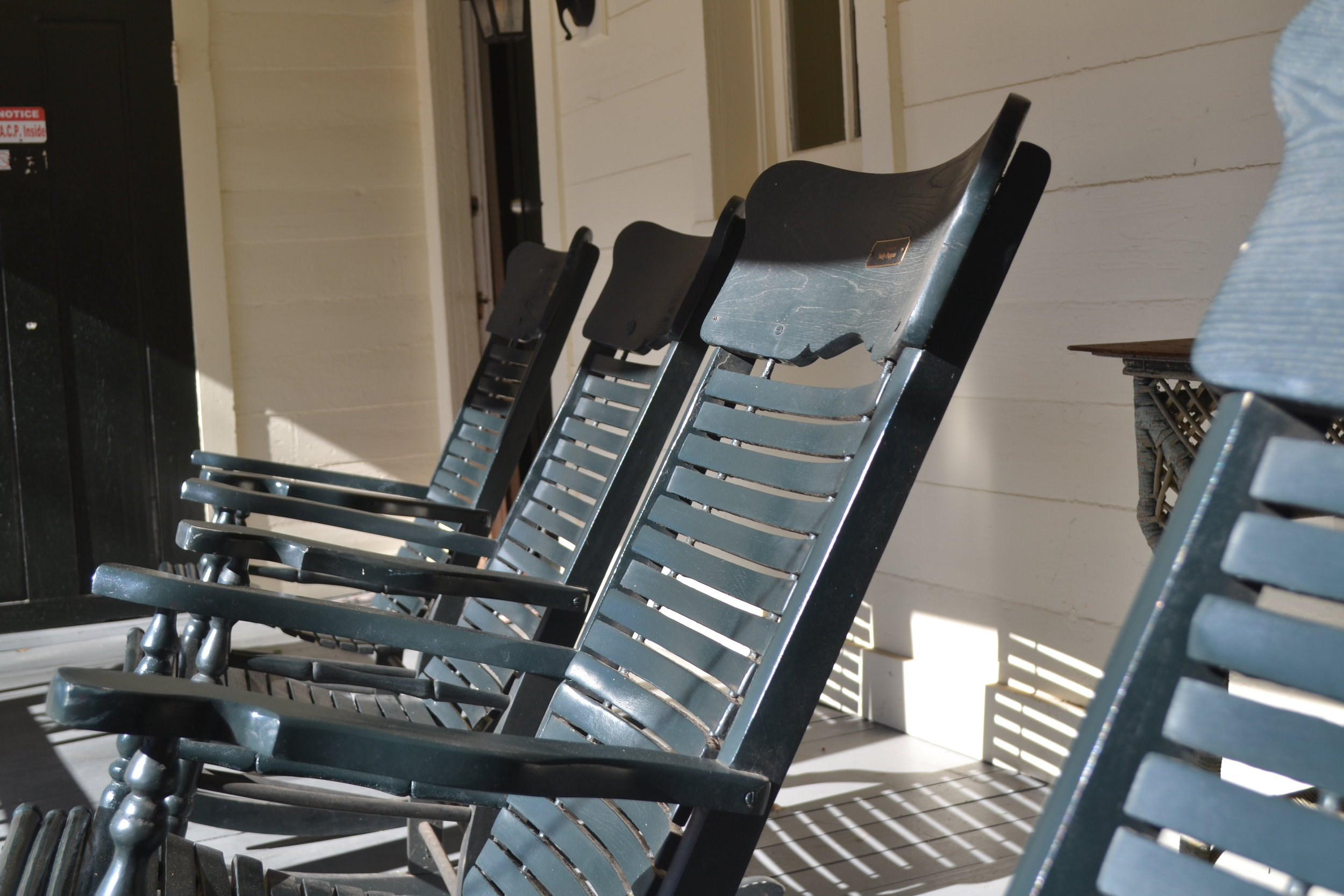 Historic rocking chairs that were restored as a part of a memorial gift program.