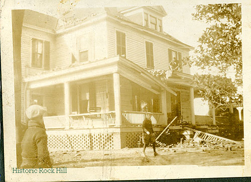 Damage to the Craig House on Johnson Street after a tornado hit Rock Hill in 1926. Craig Family Collection