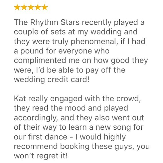 Incredible review from Lucy! Thank you so much ⭐️⭐️⭐️⭐️⭐️ #fivestars #review #testimonial #goodreview #triedandtested #band #weddingband #liveband