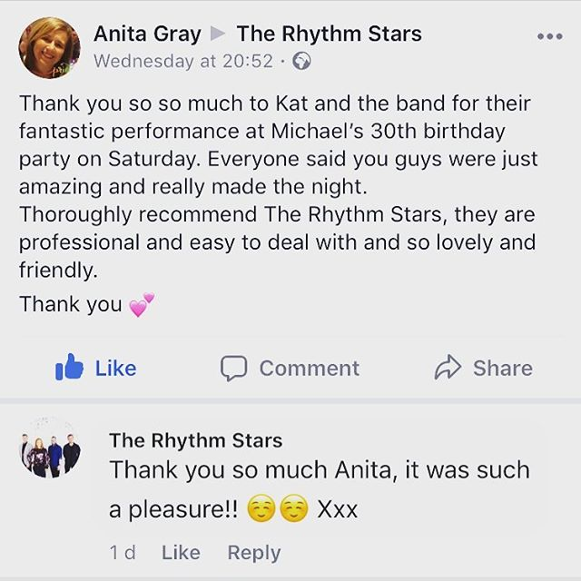 Huge thanks to Anita for her kind words ☺️👏🏻🎶 #review #testimonial #goodreview #music #band #birthdayparty #partyband #thankyou #hireaband