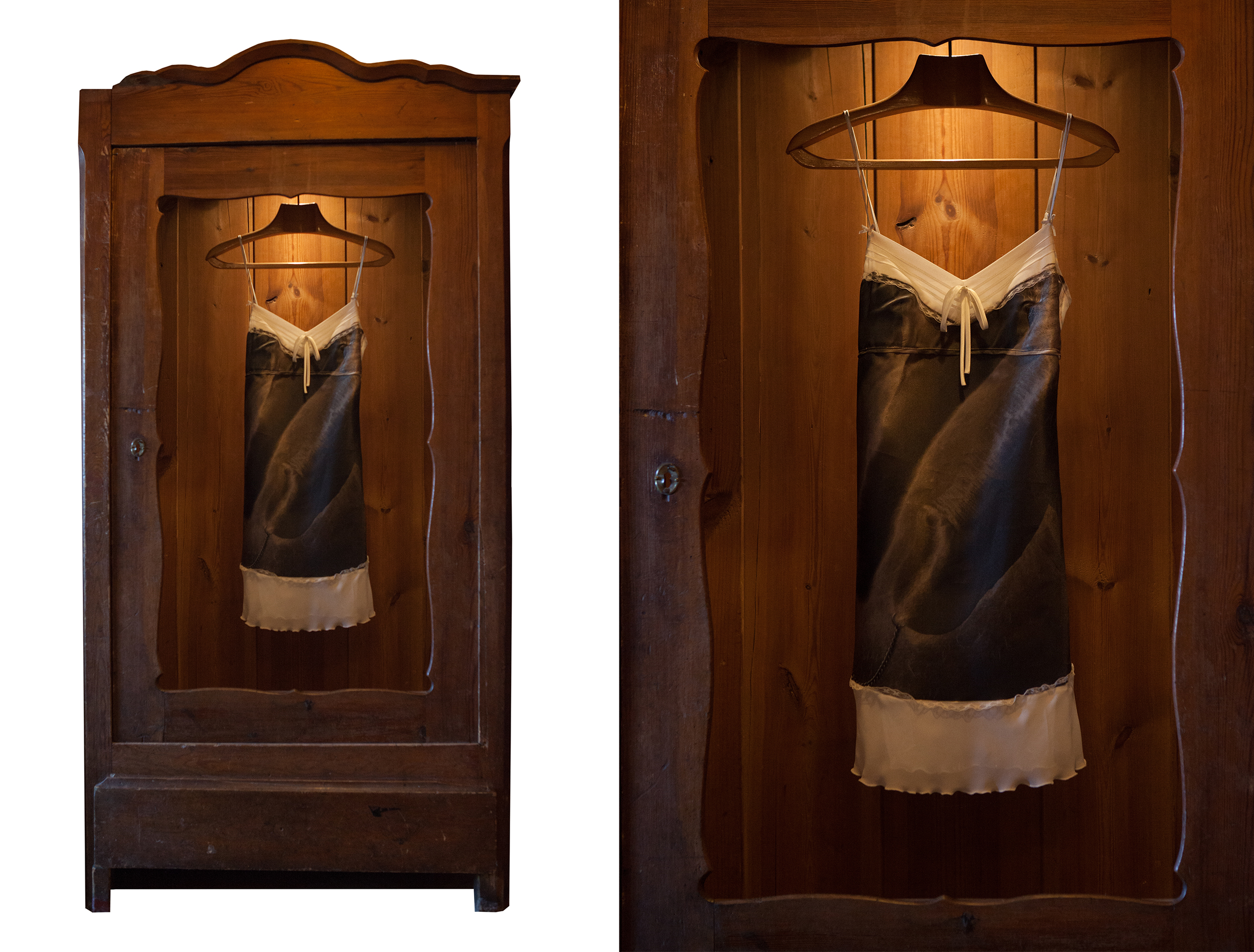 """- Freudian slipSize: 180x90x44 cm.An installation of a silk slip covered with an imprinted masculine erotic close up, hanging in a vintage wardrobe. An artwork playing with an expression """"Freudian slip"""" explaining en error in speech that Freud believed came from an unconscious mind and repressed desires. A slip naturally having second more casual meaning-a part of woman's underwear."""
