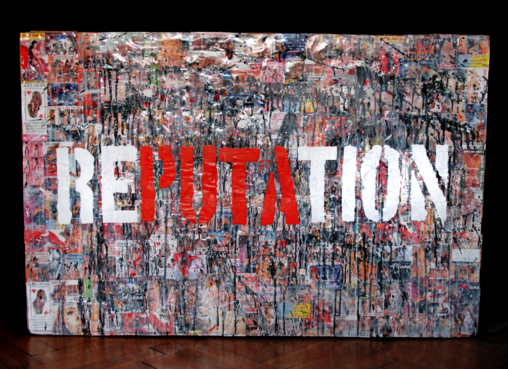 - RePUTAtionfrom the project Sexportcollage made of porn leaflets and acrylic paint on europallet 120x80cm2010