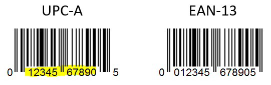 """For example, when a UPC barcode is scanned in a US store, their system reads 13 characters. But, depending on their purpose, the first two and last one digits can be omitted. So the result """"seen"""" by their computer is the 10-digit product code."""