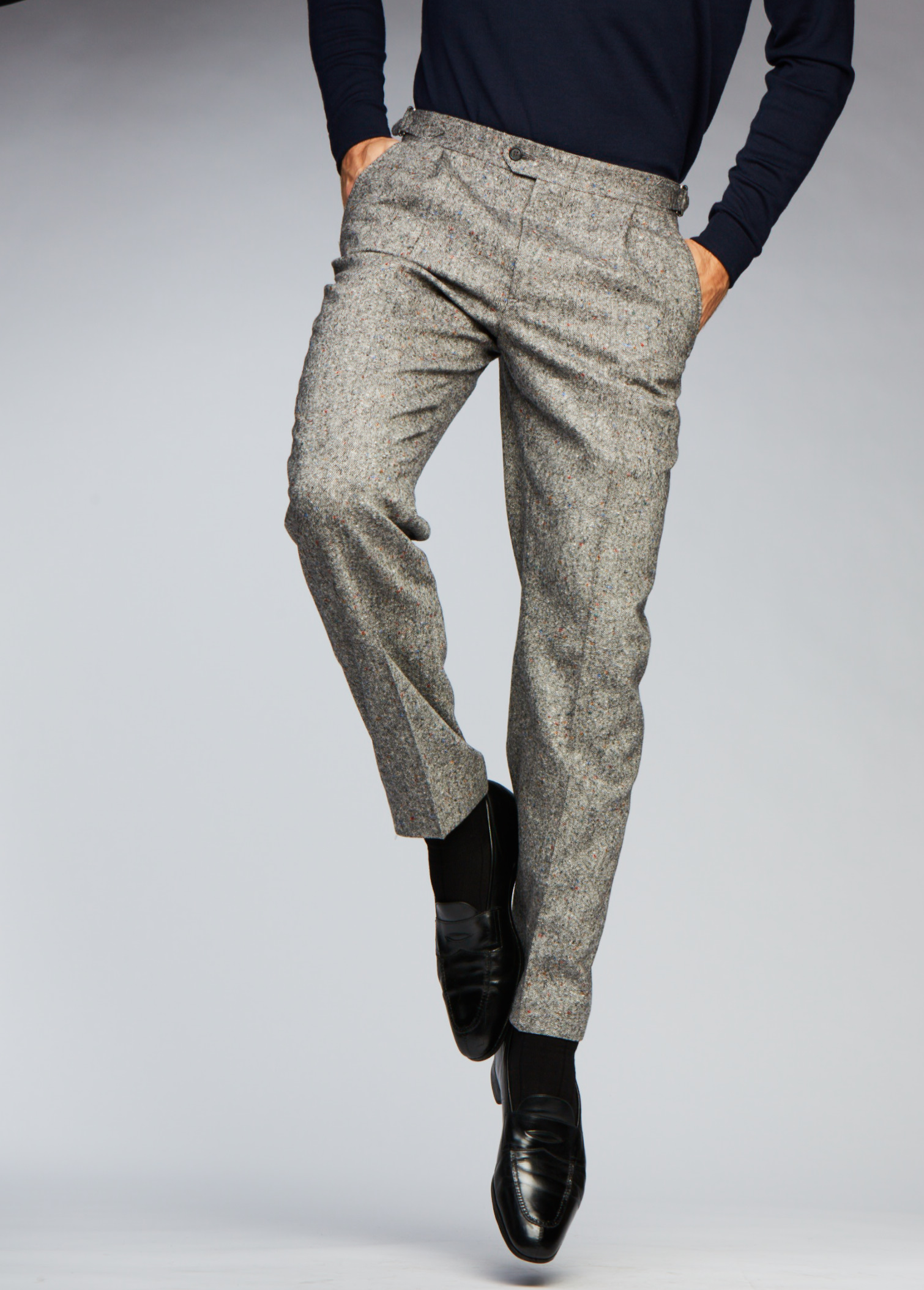 Grey Donegal Trouser,  straight cut with side tabs and single pleat.