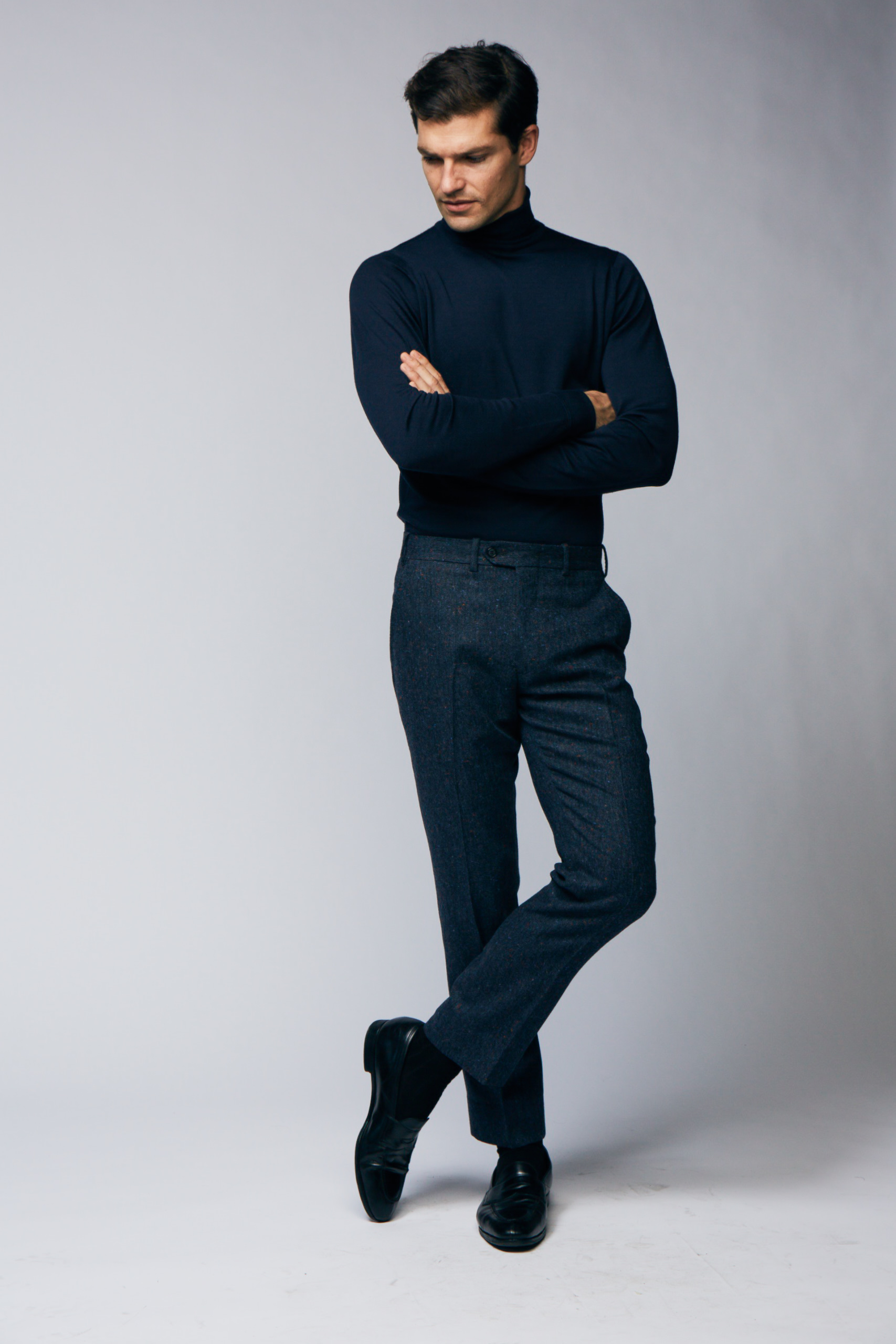 Blue Donegal Trouser , straight cut with belt loops and plain front.
