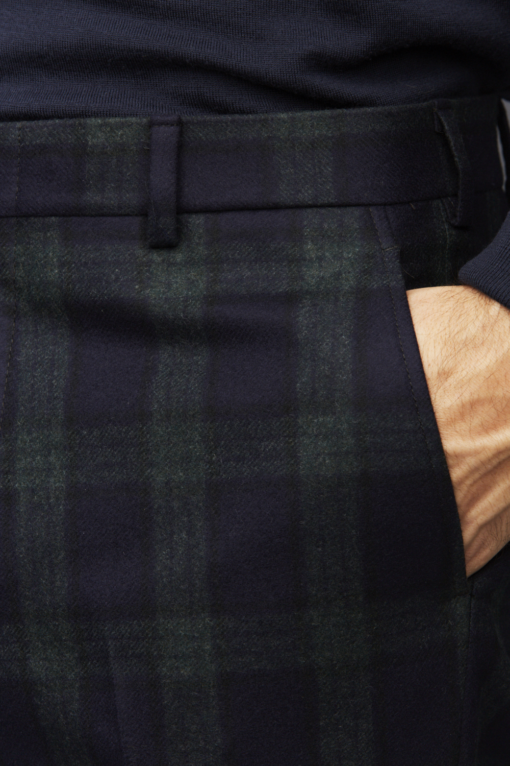 Black Watch Trouser , straight cut with belt loops and plain front.